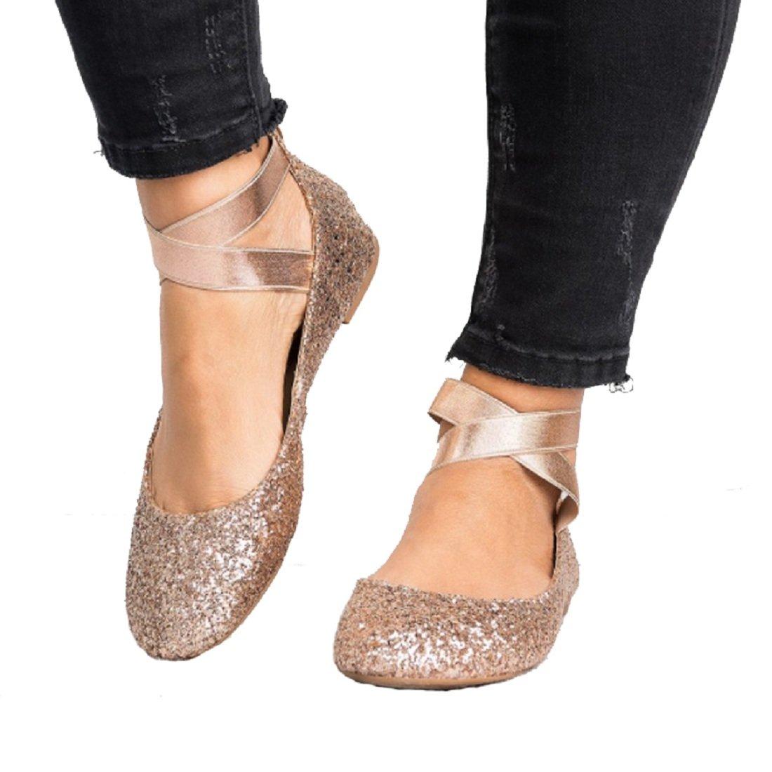 DOTACOKO Women Classic Elastic Ankle Flats Criss Cross Straps Slip on Round Toe Casual Ballet Shoes B07F6FFJBD 6.5 B(M) US|Gold