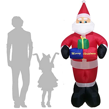 xmas christmas decorations inflatables 7 feet santa claus kriss kringle yard party holiday decorations lighted