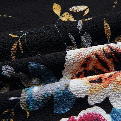 Tessuto 01 da a in Camicia in Maniche Donna Andux Lunghe Lunghe Nero Zone Campana Maniche YHSY Casual Chiffon con a aqCUpExn