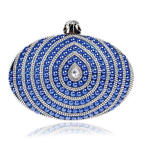 da Colore oro Oval sera Fly da Beautiful Lady donna Wild Bag Nightclub Pochette da Evening sera Borsa Borsa Blu Fashion TqYU5F