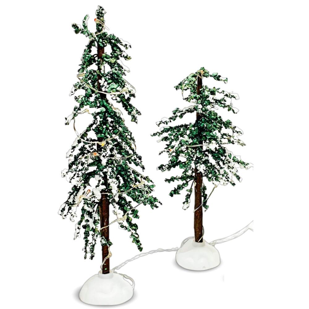 BANBERRY DESIGNS LED Christmas Decor Trees - Set of 2 LED Lighted Tabletop Xmas Trees for Holiday Village Setup - Colorful Lights