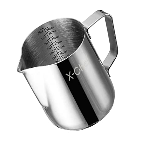 Milk Pitcher, X-Chef Stainless Steel Milk Cup Milk Frothing Pitcher 600ml/20fl.oz Cups, Mugs & Saucers at amazon