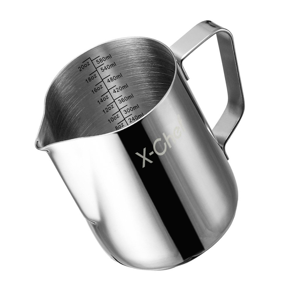 Milk Frothing Pitcher, X-Chef Stainless Steel Creamer Frothing Pitcher 20 oz (600