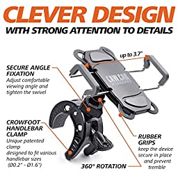 Bike & Motorcycle Phone Mount - For iPhone 7 (5, 6, 6s Plus), Samsung Galaxy or any Cell Phone - Universal ATV, Mountain, City & Road Bicycle Handlebar Holder. +100 to Safeness & Comfort