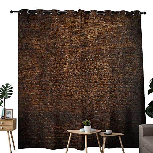 NUOMANAN Decorative Curtains for Living Room Wooden,Old Vintage Antique Timber Oak Background Rustic Floor Artisan Photo Print,Chestnut and Brown,Blackout Draperies for Bedroom 84