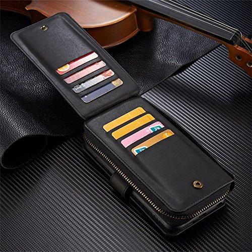 iPhone 7Plus/8Plus Women's Case,iPhone 7 Plus/8 Plus Wallet Case,Zipper Detachable Magnetic12 Card Slots Card Slots Money Pocket Clutch Cover Zipper Wallet Purse Case iPhone 7 Plus/8 Plus (Black) by TOPWOOZU (Image #7)