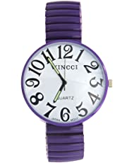 Ladies Super Large Face Purple Stretch Band Easy to Read Watch