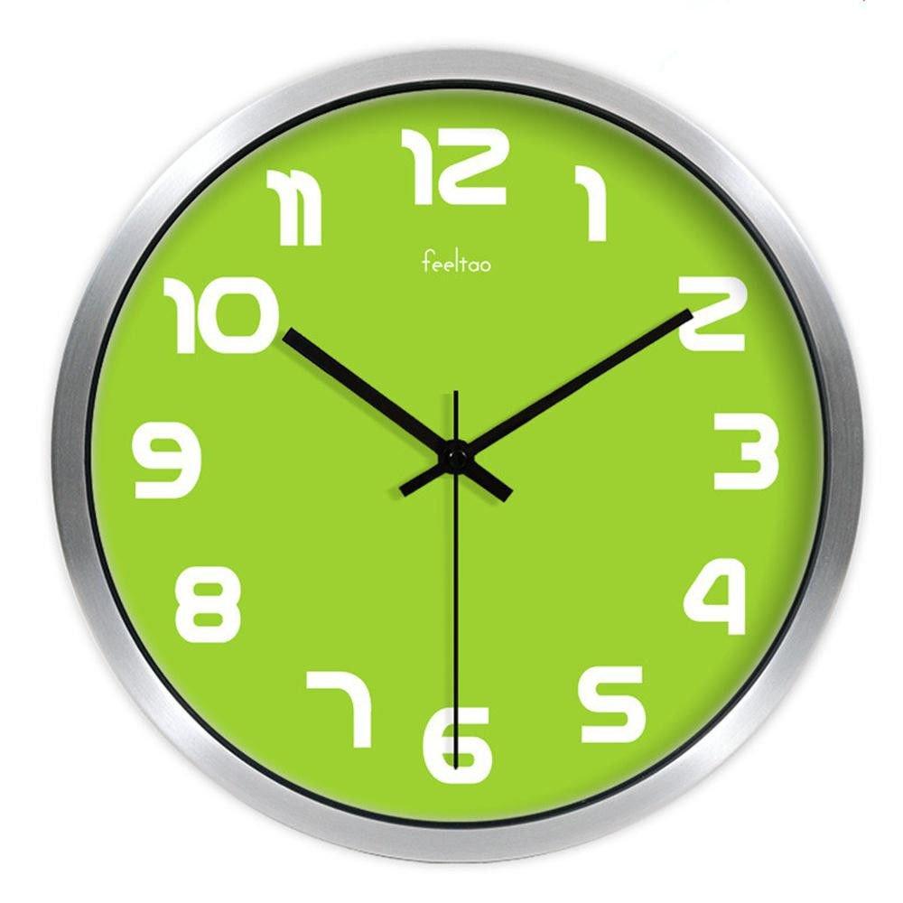 Wall Clock WERLMWanduhr CreativeWohnzimmer Uhr Tisch ideal für Jede Art von Zimmer im Haus Esszimmer Küche Büro Schule, 10 Zoll (φ 25,5 cm), Silber Rahmen