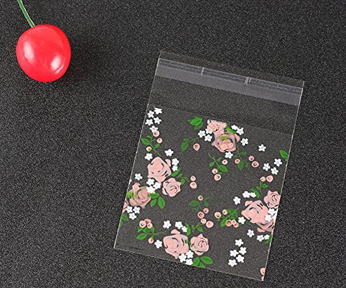 100Pcs Clear Resealable Cellophane Bags Rose Flower Self-adhesive Plastic Bags for Bakery Candy Cookies Party Decorative Gift (S) (Flowers Treat Bags)