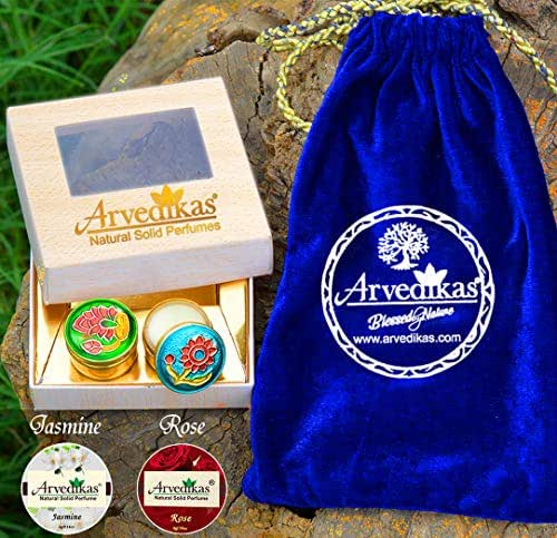 A Gift Set of 2pcs Arvedikas Natural Solid Perfumes Cologne Body Musk Mini Brass Jars 4gm each/essential oil & beeswax blends/pocket size long lasting parfum/FREE VELVET POUCH (Jasmine & Rose)
