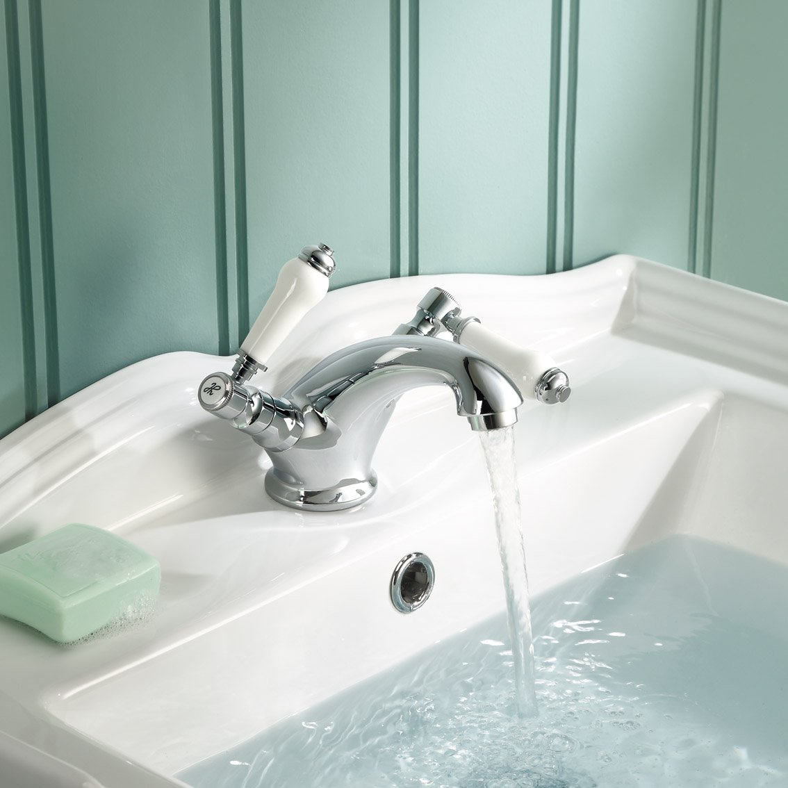 iBathUK Traditional Chrome Basin Mixer Tap Monobloc Bathroom Sink ...