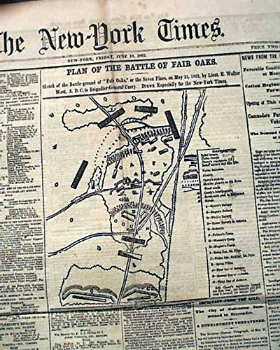 SEVEN PINES Fair Oaks MAP & Battle of Cross Keys 1862 Old Civil War Newspaper NEW YORK TIMES, June 13, - Oak Fair Map