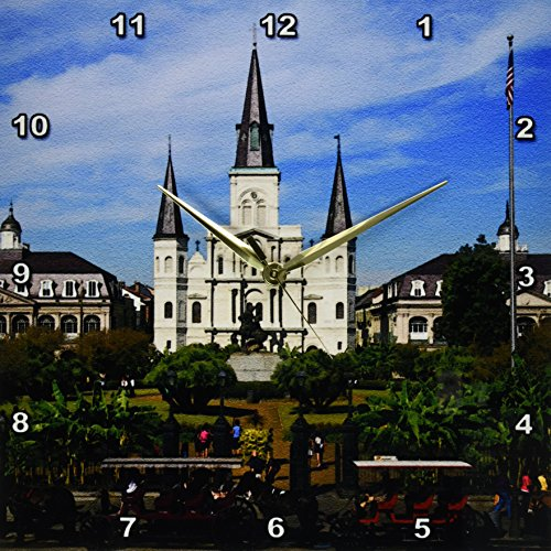 3dRose DPP_90466_2 St. Louis Cathedral, New Orleans, Louisiana - US19 DFR0091 - David R. Frazier - Wall Clock, 13 by - Orleans New Desk Clock Saints