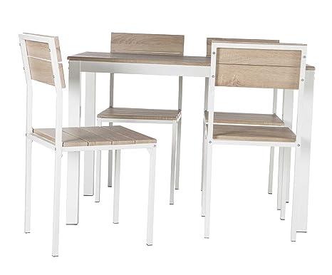 Abitti Conjunto de Mesa + sillas Xobe, para Comedor, Salon o Cocina en Color Taupe y Blanco, Tanto para sillas como Mesa, con una Resistente ...