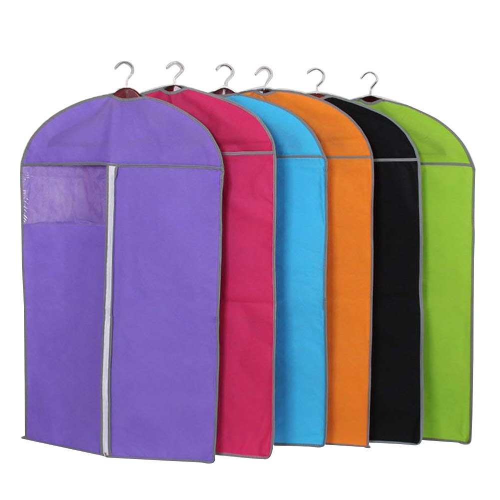 "47"" Long Clothing Dustproof Cover Garment Shoulder Rack Covers Home Bedroom Clothing Dustproof Mothproof Protector with Durable Zipper and Clear Window Set Of 6"
