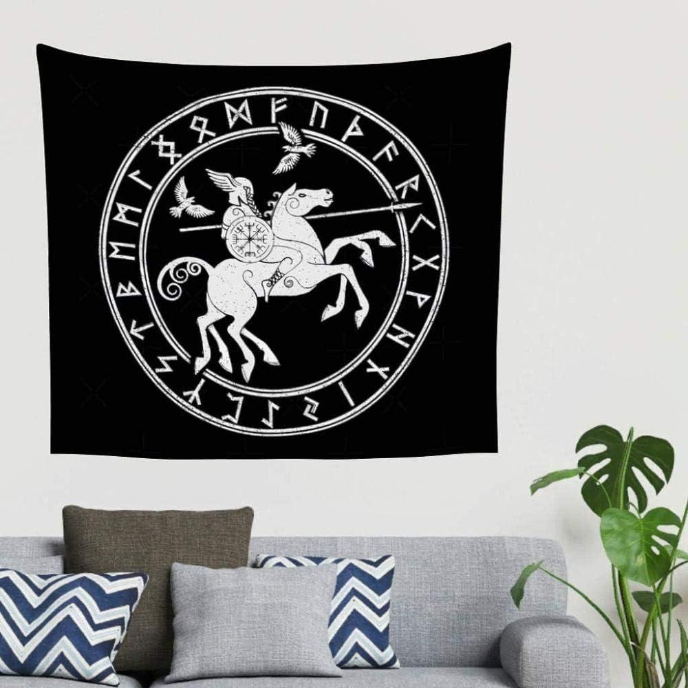 DWgatan Tapisserie,Gypsy Vintage Nordic Warrior Wotan Sleipnir Spear Shield Valknut Raven Runes Scandinaves Tatouage Tenture Murale Psych/éd/élique Wall Art Yoga Mat-150x130cm