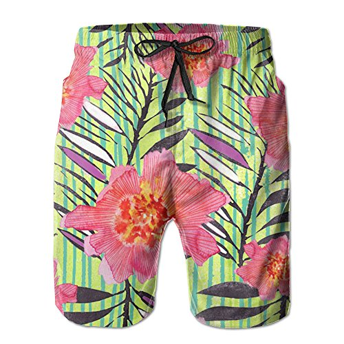 JH SPEED Mens Surf Beach Shorts Swim-trunks Quick Dry Flower Painting Board Shorts With Pocket SizeNme (Board Flowers Painting)