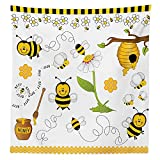Collage Decor Tablecloth Flying Bees Daisy Honey Chamomile Flowers Pollen Spring Themed Animal Print Dining Room Kitchen Rectangular Table Cover Yellow White