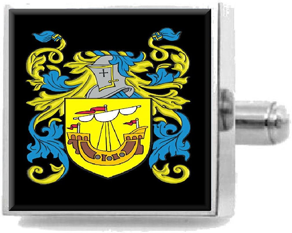 Select Gifts Risby England Heraldry Crest Sterling Silver Cufflinks Engraved Message Box