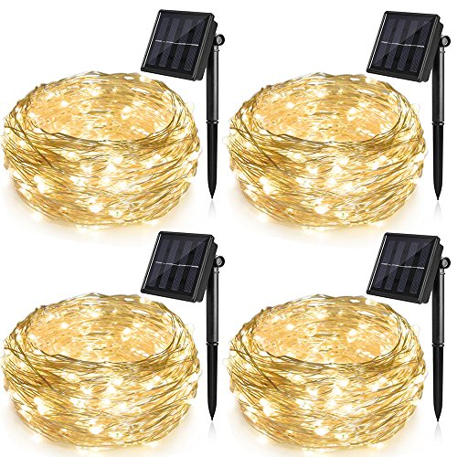 Ankway Solar String Lights 4 Pack, 100 LED Solar Fairy Lights 39 ft 8 Modes 3 Strands Copper Wire Lights Waterproof Outdoor String Lights for Garden Patio Christmas Tree Indoor Bedroom (Warm White) ()