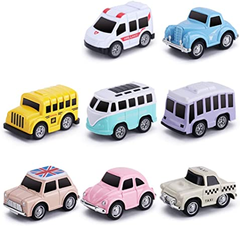 Juguetes tira del coche, 8 Pack surtido de Mini Set Vehículo de plástico, Pull favores Volver