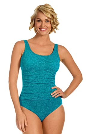 a7f87f6918851 Image Unavailable. Image not available for. Color: Krinkle Chlorine  Resistant Aruba Shirred One Piece Swimsuit ...
