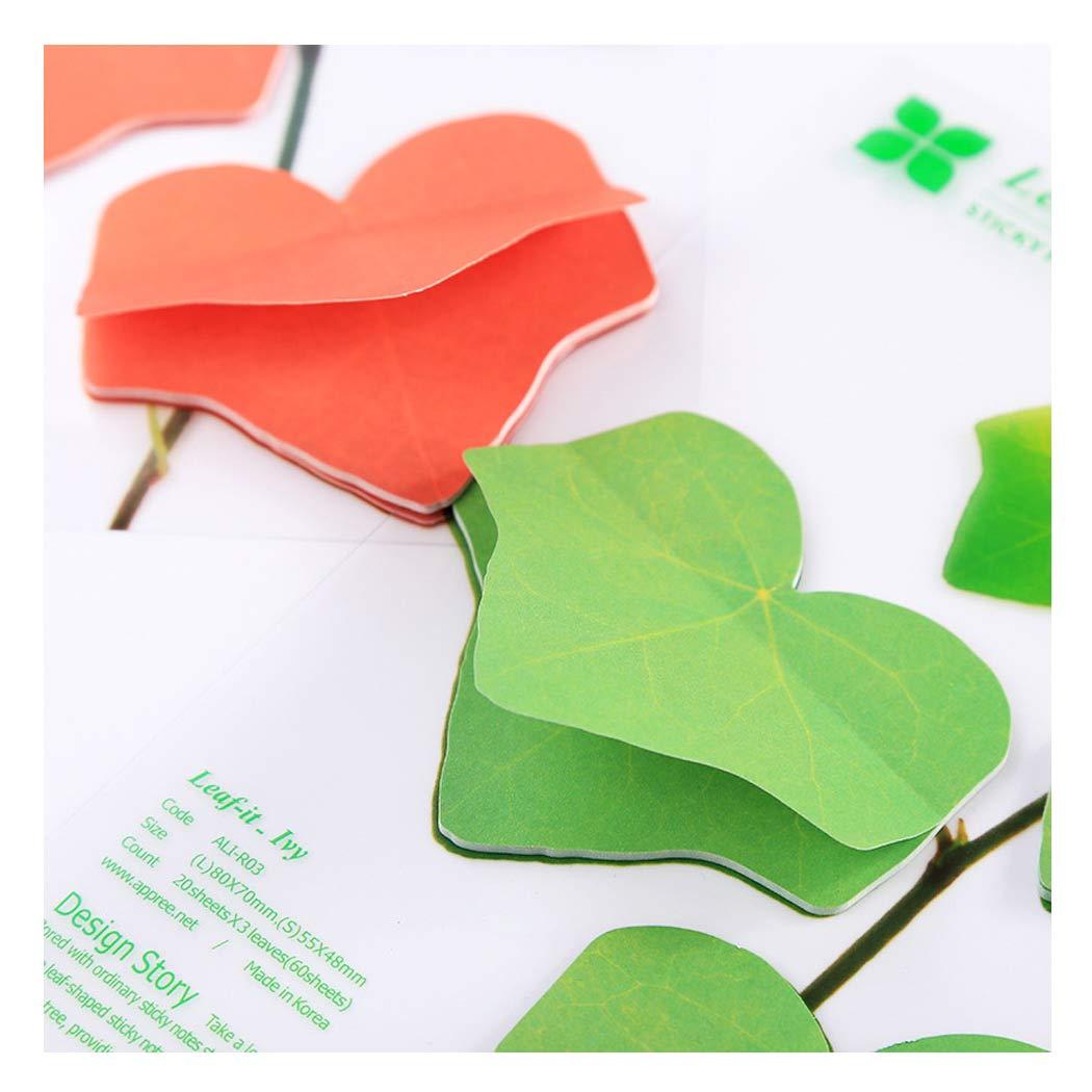 feuille d/érable verte Bloc-notes pour notes autocollantes cr/éatives Sipliv lot de 6 emballer individuellement des notes autocollantes