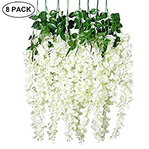 Unomor 3.25 Feet Wisteria Artificial Flowers Fake Hanging Flowers Vine Garland for Wedding Decorations (8 Pcs) 83