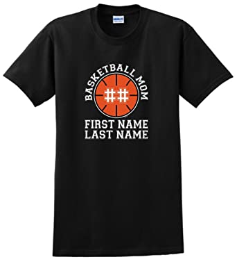 844b74675 Custom T-Shirt Personalized Basketball Mom Enter Name Number T-Shirt Small  Black
