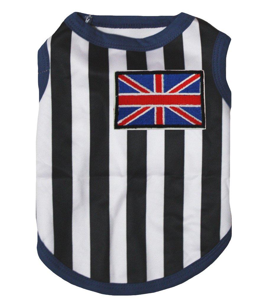 Petitebella Puppy Clothes Dog Dress UK Flag Black White Stripes T-Shirt (X-Small)