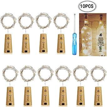Mini-LED-Lichter Mit Batterie,Warmweiß 10x Korken Lichterkette Für Weinflaschen