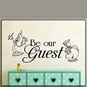 miseda Vinly Art Decal Words Quotes Beauty and The Beast Vinyl Decal Be Our Guest Beauty and The Beast Home Art Decal Wall Decor Stickers Boy Girl Room Decor Mural