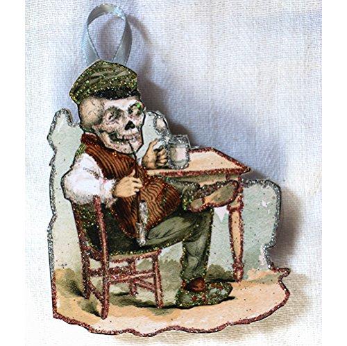 Glittered Wooden Ornament~ Vintage Halloween~ Victorian Medical Advertisement~Antikamnia
