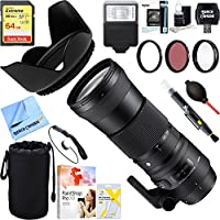 Sigma (745-110) 150-600mm F5-6.3 DG OS HSM Zoom Lens Contemporary for Sigma DSLR Cameras + 64GB Ultimate Filter & Flash Photography Bundle