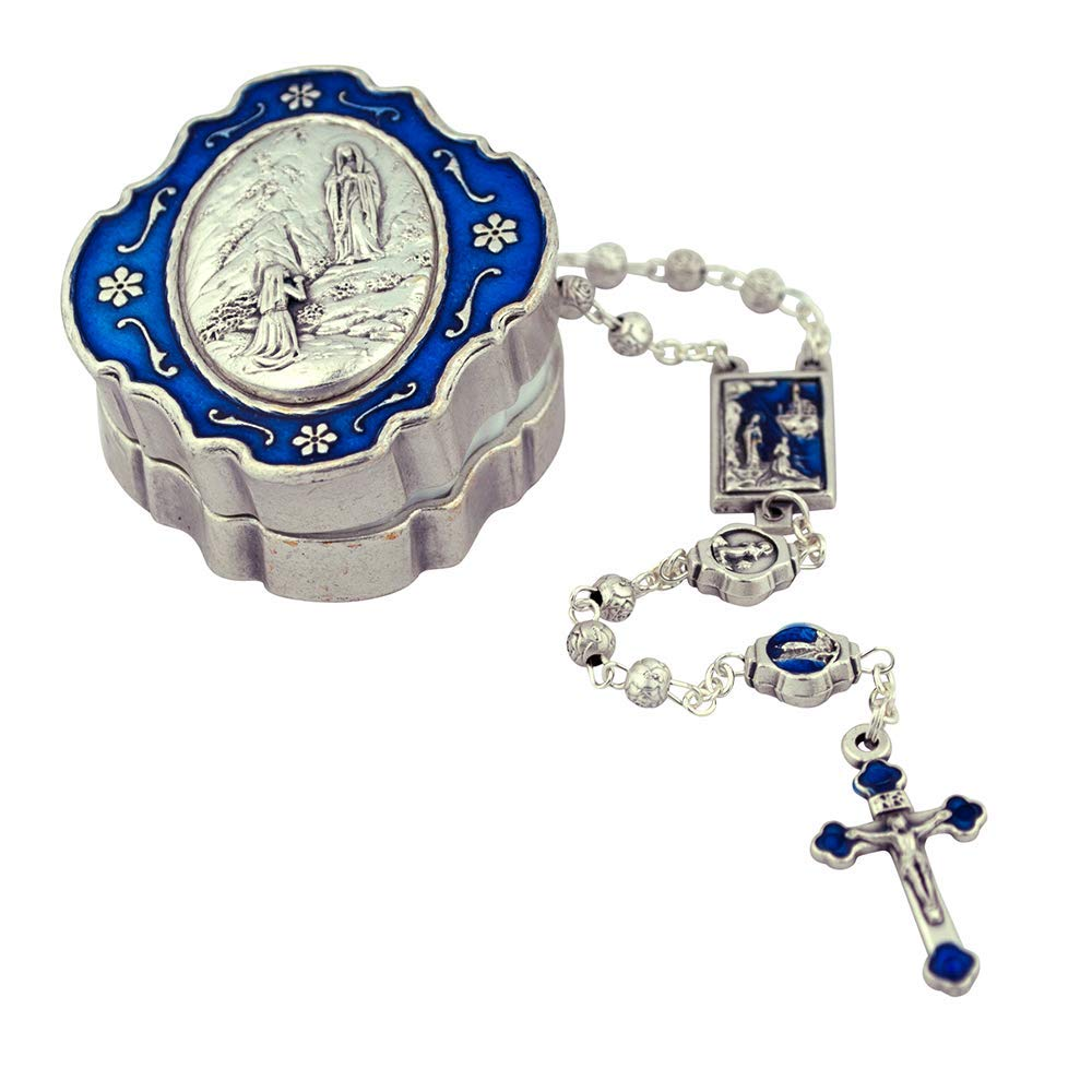 Mini Rosary Gift Set | Over 15 Subjects and Styles | Large Case | Colored Enamel Accents | Christian Jewelry (Our Lady Lourdes - Blue Enamel) by VILLAGE GIFT IMPORTERS