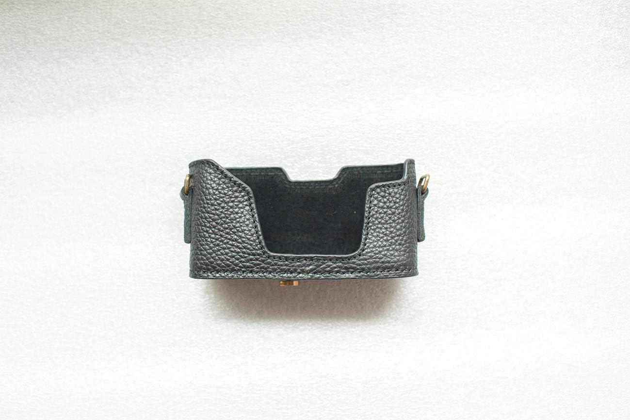 NO Data Back Handmade Genuine Real Leather Half Camera Case Bag Cover for Leica Minilux Minilux Zoom Black