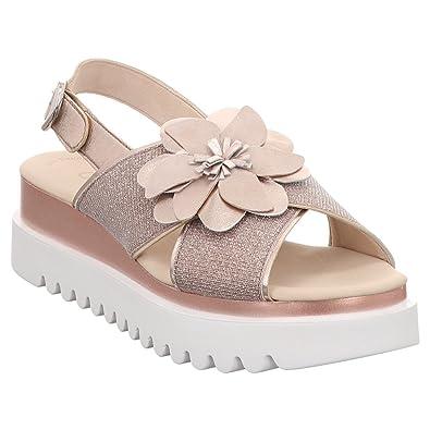 Gabor 83.616 64 Damen Sandale aus Glattleder und Textil Verstellbare Schnalle