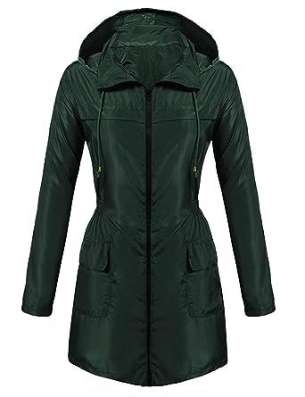 b30236fc7 Bemobeauty Women's Lightweight Waterproof Rain Jacket Outdoor Active  Windbreaker Long Hooded Raincoat (