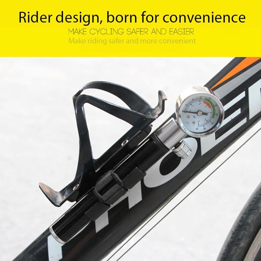 Aolvo Mini Bici Pompa con Banometro Portabile 120PSI Manual Mini Ciclismo Pompa Aria Manuale,in Lega di Alluminio,Con un Ago,Gonfiare i Giocattoli e il Pallone da Calcio,Argento