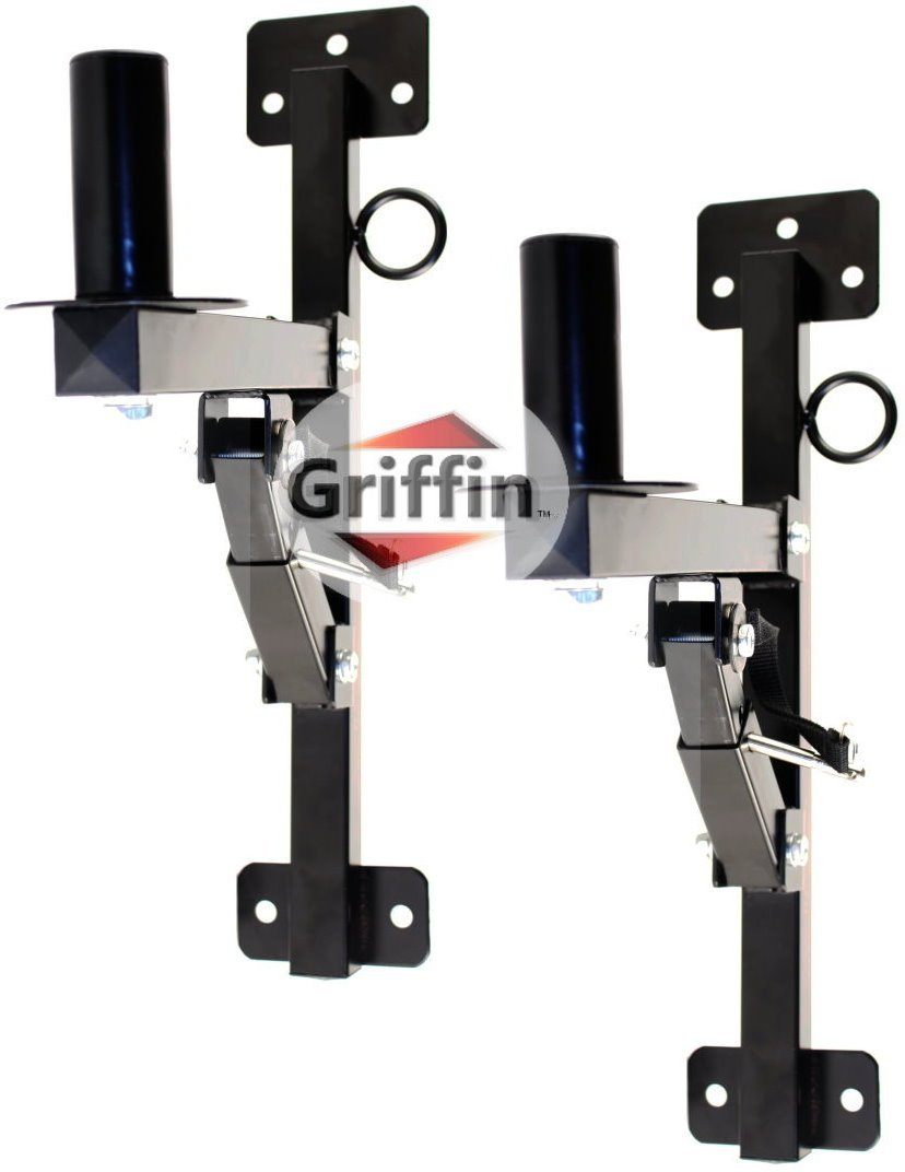 Premium PA Speakers Wall Mount Brackets By Griffin – Set Of 2 Professional All Steel Audio Speaker Holders – With Securing Locking Pin & 3 Horizontal Level Tilt Adjustments – 180 Lbs Weight Capacity