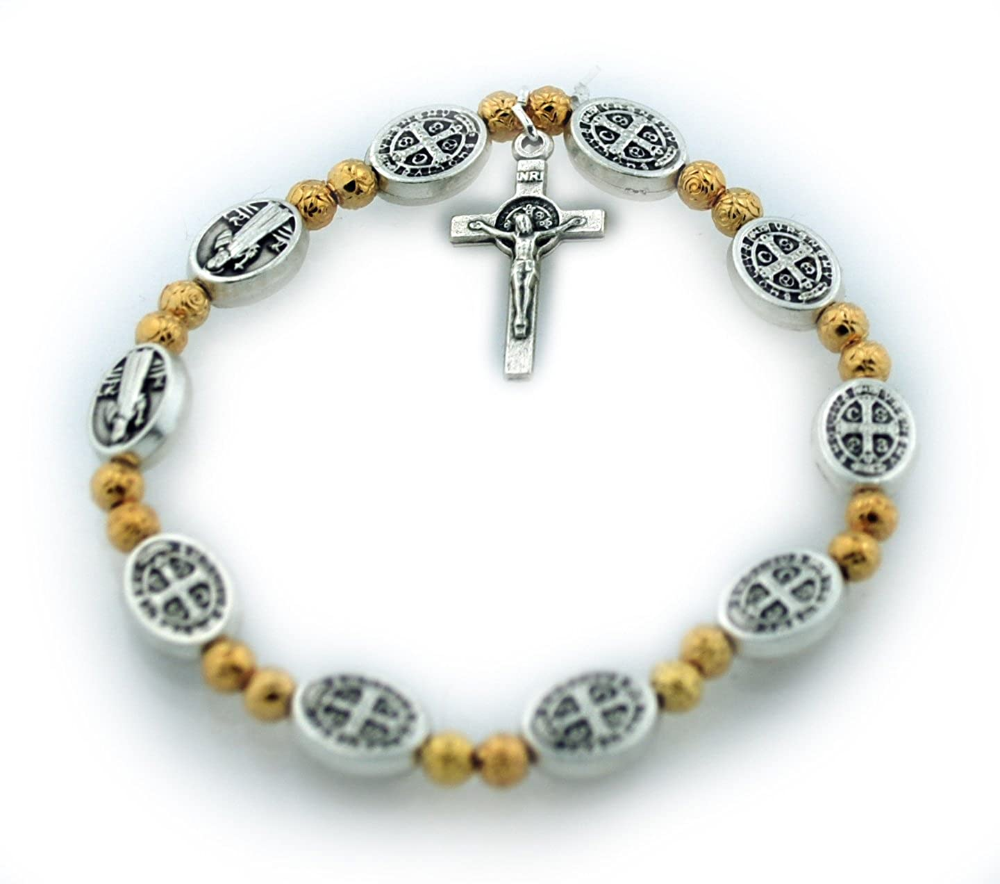 St. Benedict Medal Stretch Bracelet Gold-Tone Beads Vatican Imports