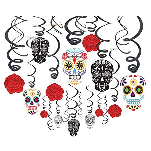 Grasslands Road 30-Piece Day of The Dead Black and Bone Foil Swirls Value Pack Kit -