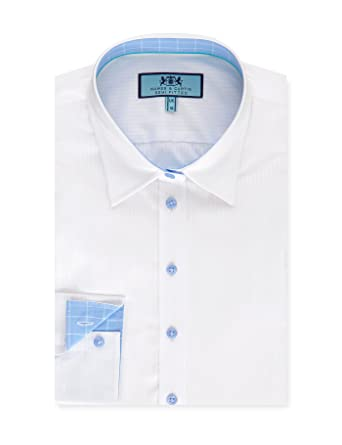 ee870a7f8c37 HAWES & CURTIS Womens White Textured Semi Fitted Shirt with Contrast Detail-  Single Cuff,