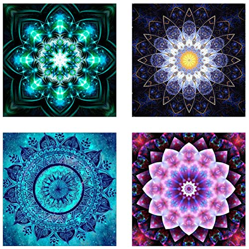 - 4 Pack 5D DIY Diamond Painting Set Decorating Cabinet Table Stickers Full Drill Rhinestone Diamond Embroidery Paintings Pictures, Mandala Flower Painting(25X25CM/9.8X9.8inch)