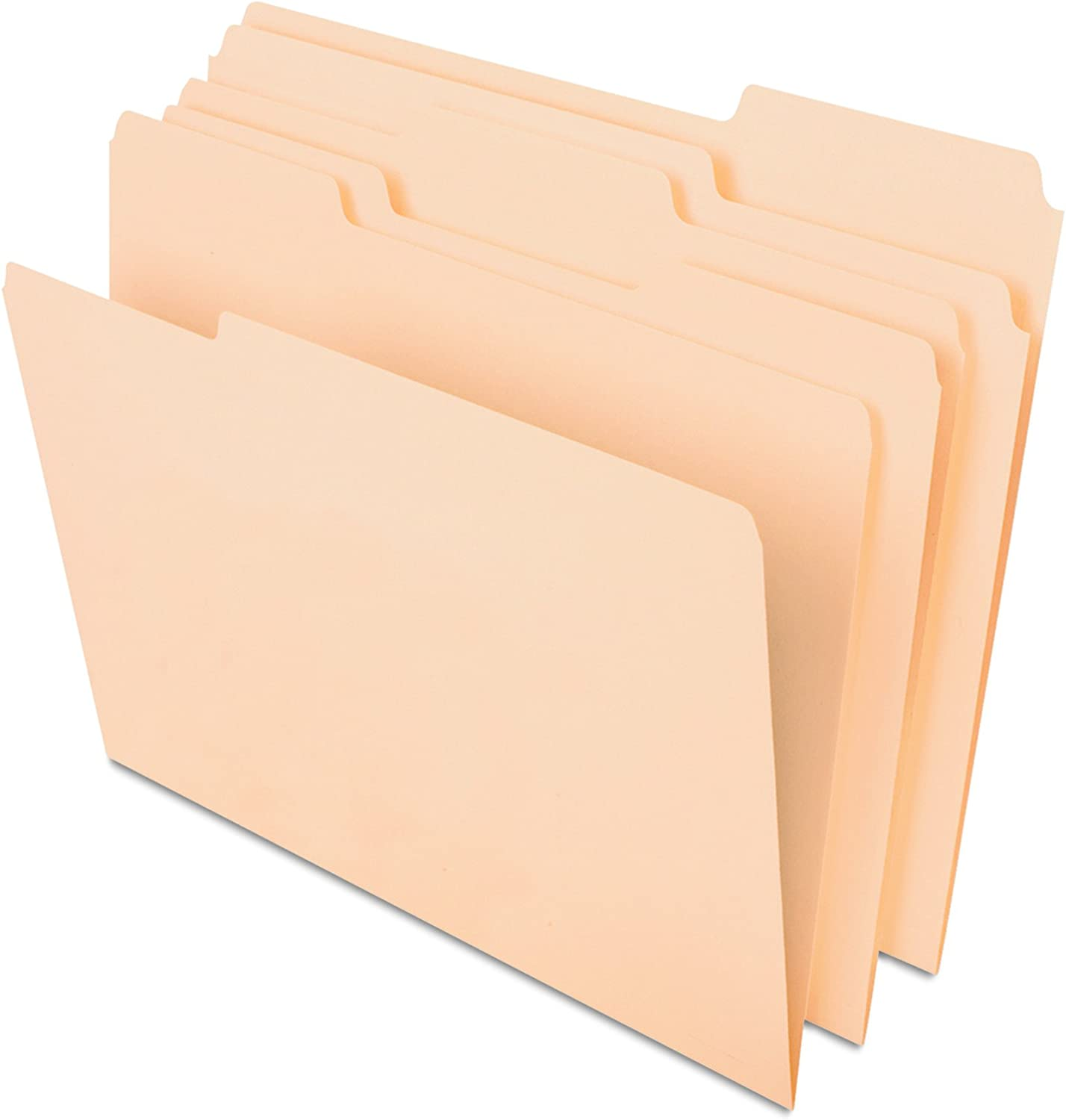 Pendaflex CutLess File Folders with Softer Paper Edges, Letter Size, Manila, 1/3 Cut Tabs in Assorted Positions, 100 Per Box (48420)
