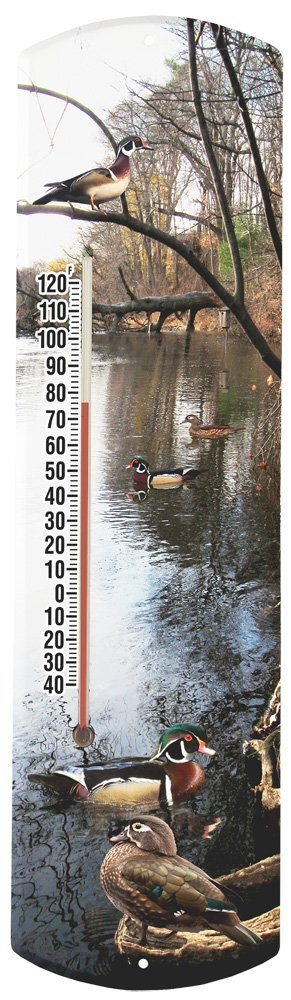 Heritage America by MORCO 375DUCK Wood Duck Outdoor or Indoor Thermometer, 20-Inch