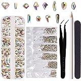 120 piezas de cristales AB de vidrio para arte de uñas, 1728 piezas mezcladas con cristales de fondo plano, decoración…