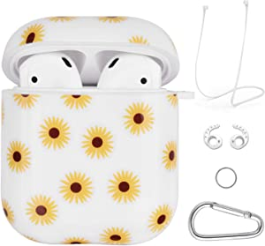 Airpods Case - VIGOSS 4 in 1 Airpod Case Cover Glossy Airpods Accessories Shockproof Protective Set Skin Compatible with Apple Airpods 2 and 1 Hard Case Sunflower