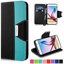 Galaxy S6 Case,Vakoo Samsung S6 Flip Cover Premium PU Leather Wallet Credit Card Holder Folio Stand Case for Samsung Galaxy S6 With a Wrist Strap – Black Blue