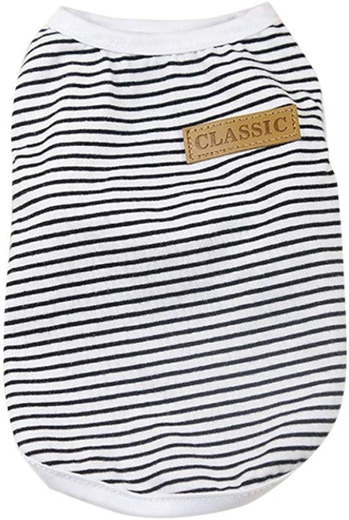 Dog Cat Clothes Puppy Classic Vest Striped T-Shirt Pet Summer Apparel Howstar Pet Shirt